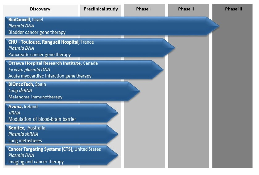 Fig.1: Clinical pipeline of ongoing preclinical and clinical trials using <em>in vivo</em>-jetPEI<sup>&reg;</sup>.