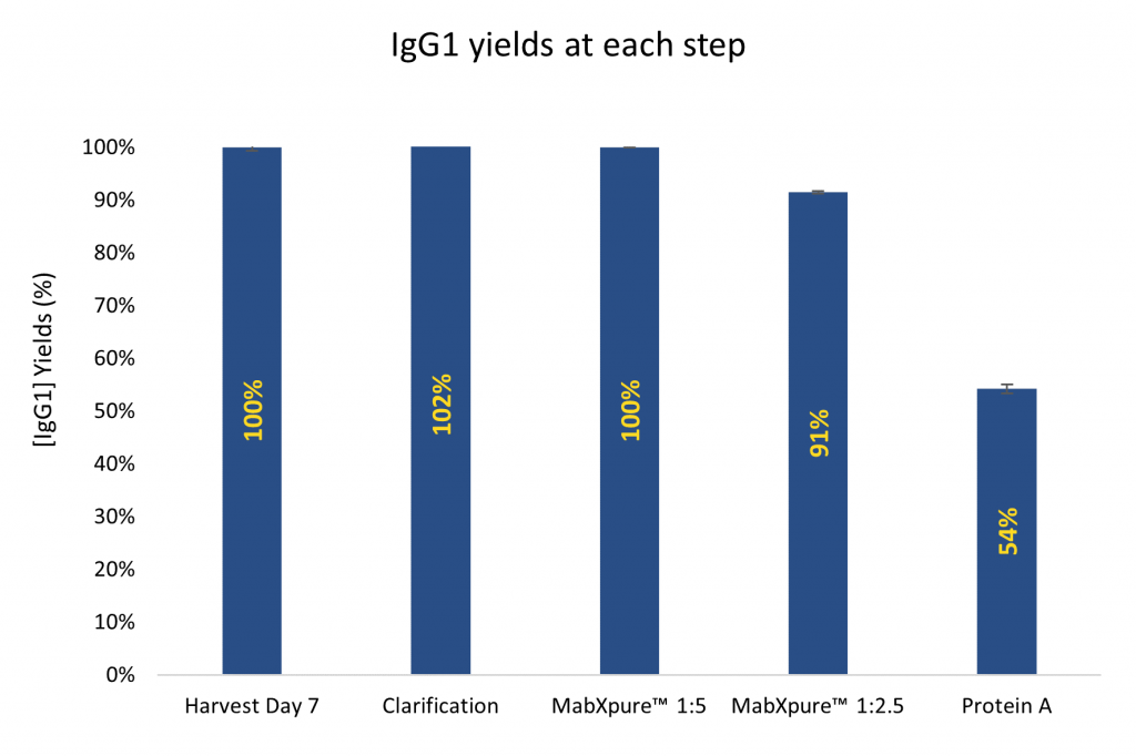 Figure 2: IgG1 yields/recoveries are significantly higher when using MabXpure™ resin compared to Protein A resin, with all recoveries higher than 90 %. IgG1 quantification was performed at each purification step using the BLItz® system (ForteBIO®) with protein A biosensors (Dip and Read™ Protein A (ProA)).